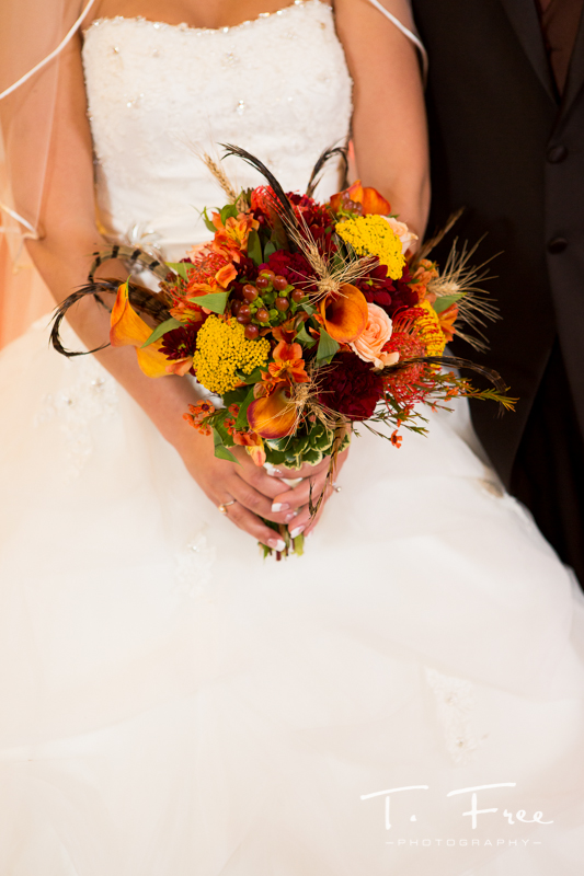 Neat fall bride bouquet Nebraska wedding flowers.