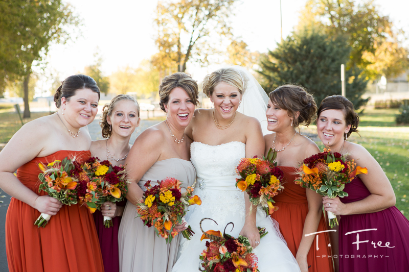 Nebraska fall wedding bridesmaid candid.