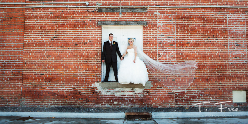 Creative wide angle central Nebraska wedding image.