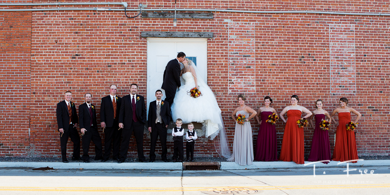 Nebraska wedding party creative outdoor.