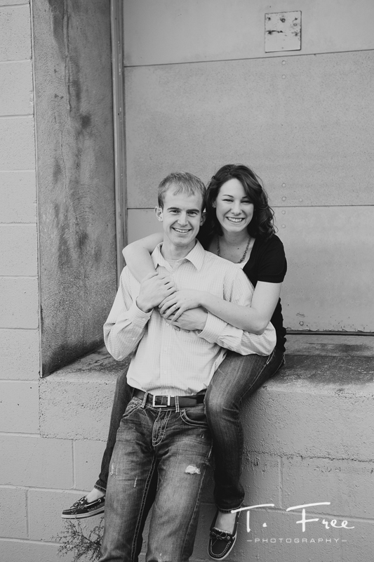 Amazing black and white engagement picture.