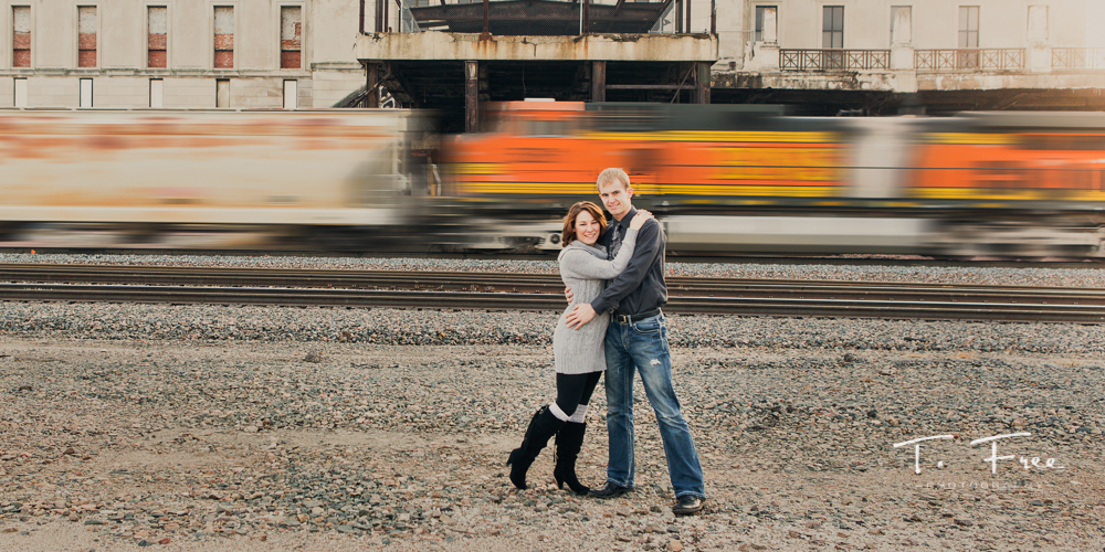 Downtown Omaha train station engagement.