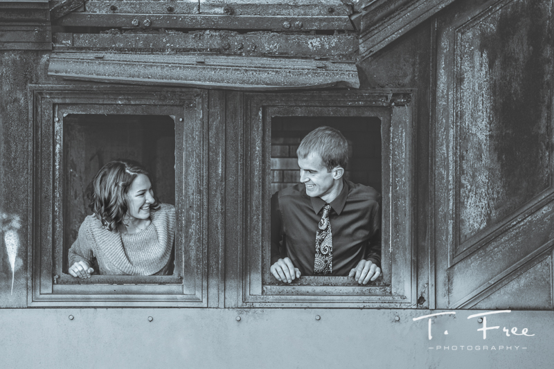 Black and white fun engagement picture.