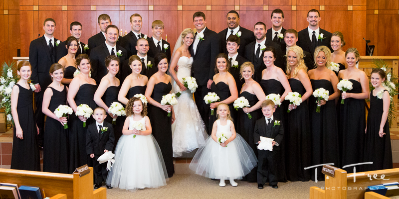 Huge full wedding party Kearney church picture.