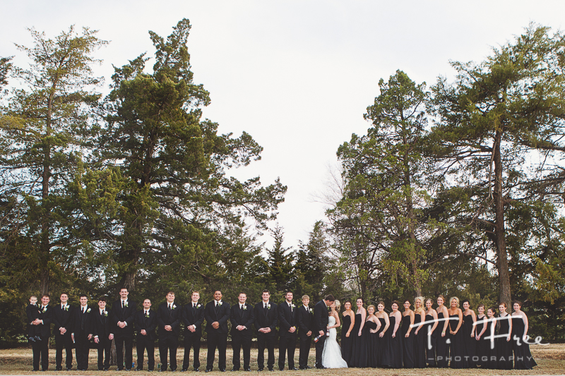 Creative outdoor wedding photograph of large wedding party.
