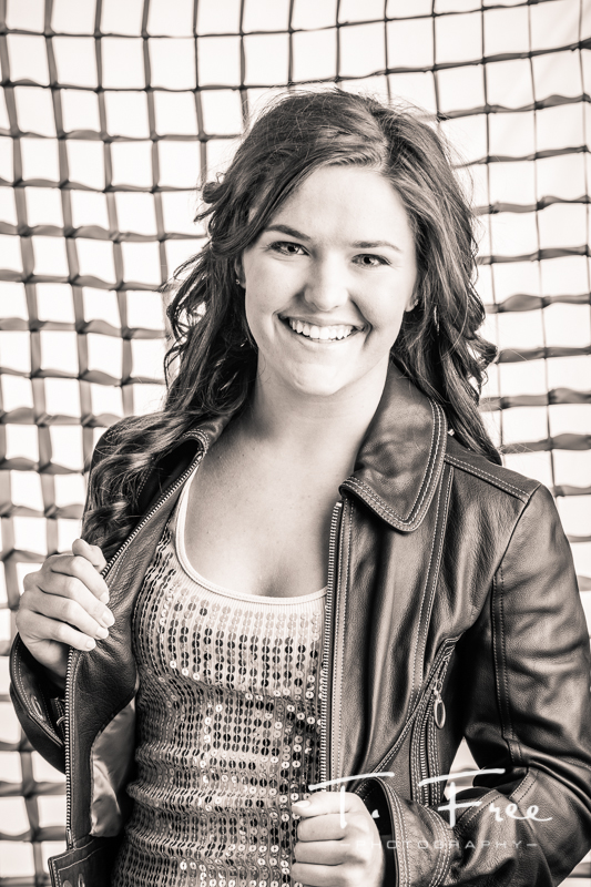 Creative black and white backlit Omaha senior image.