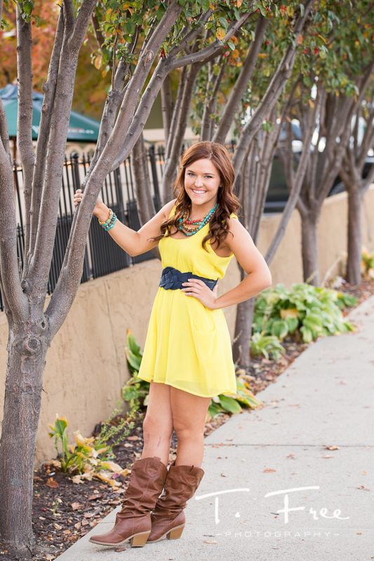 Fun yellow dress for outdoor senior pictures in Elkhorn Nebraska.