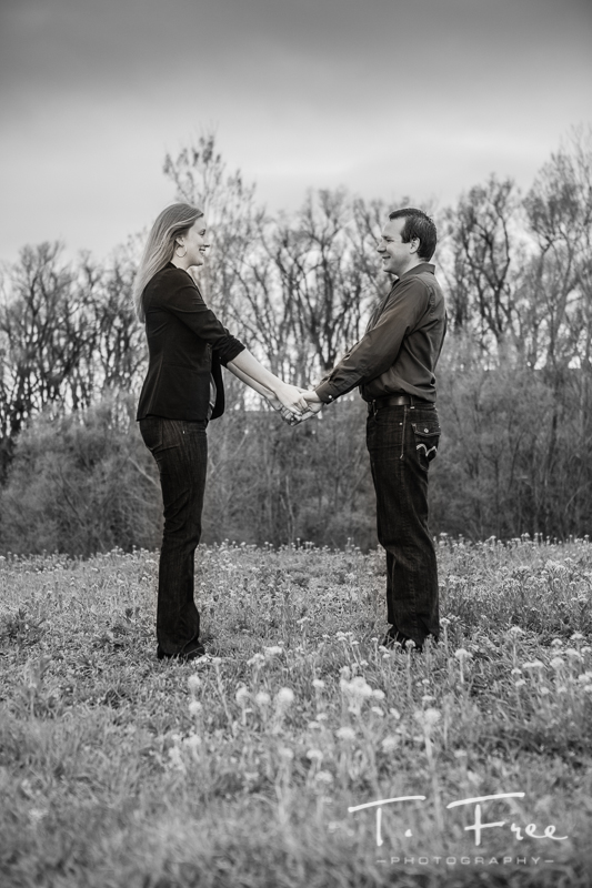 Creative black and white engagement image.
