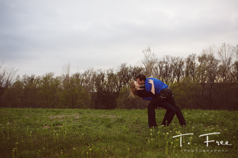 Open field in West Omaha engagement session.