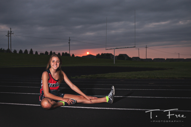 Senior picture of Nebraska track and cross country athlete.