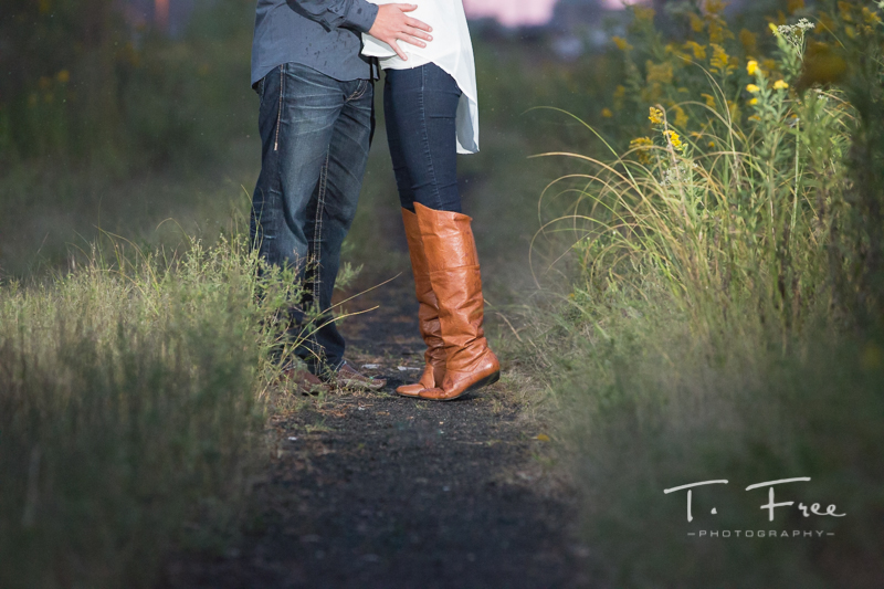 Downtown Omaha night engagement session.