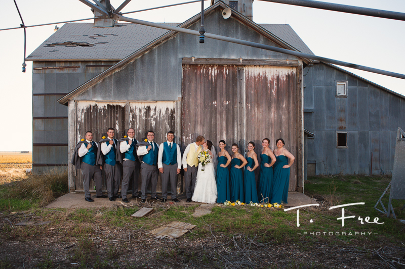 Rustic outdoor nebraska wedding party photo.
