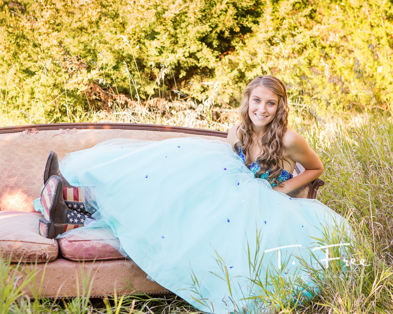 Creative outdoor Papillion-la Vista  senior photographer prom dress with boots.