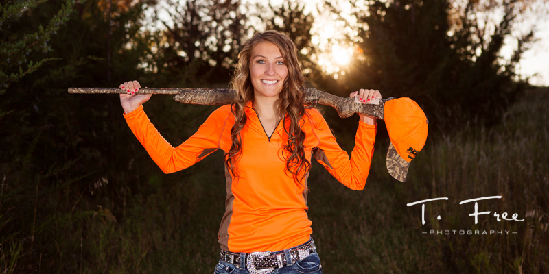 Outdoor senior hunting picture.