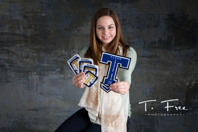 Papillion South senior picture with theatre letters