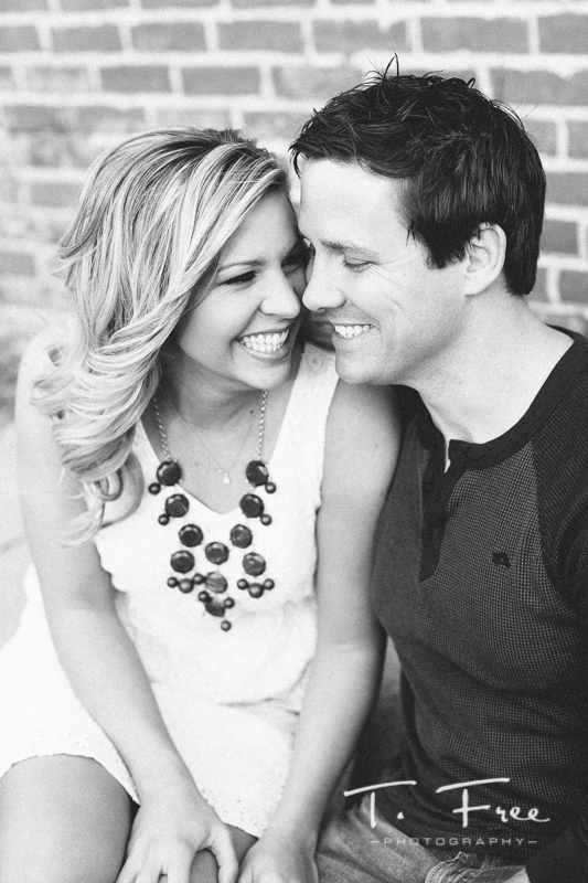 Downtown Elkhorn black and white engagement session.