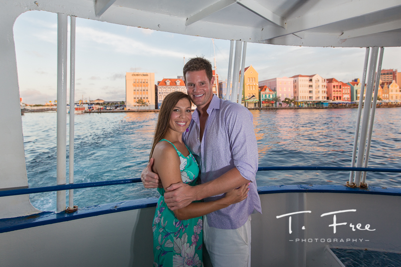 Punta, Willemstad, Curacao engagement session from ferry.