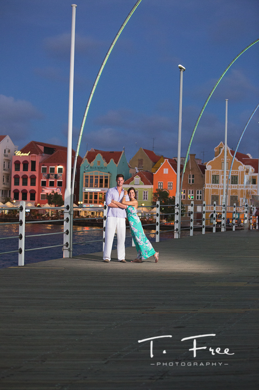Curacao Queen Emma bridge engagement photo.