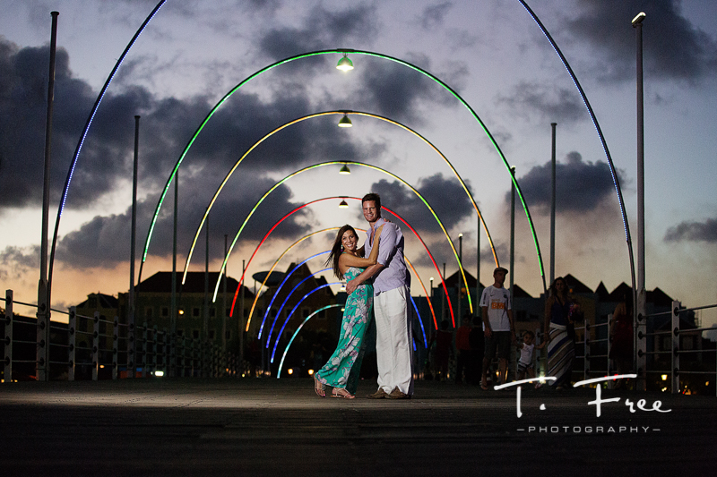 Curacao Queen Emma bridge engagement photo at sunset.