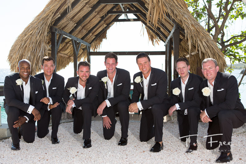 Curaçao destination wedding photographer groomsmen and ushers.
