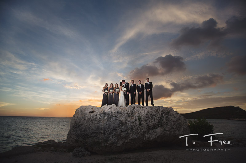 Destination wedding photo along ocean in Curaçao.