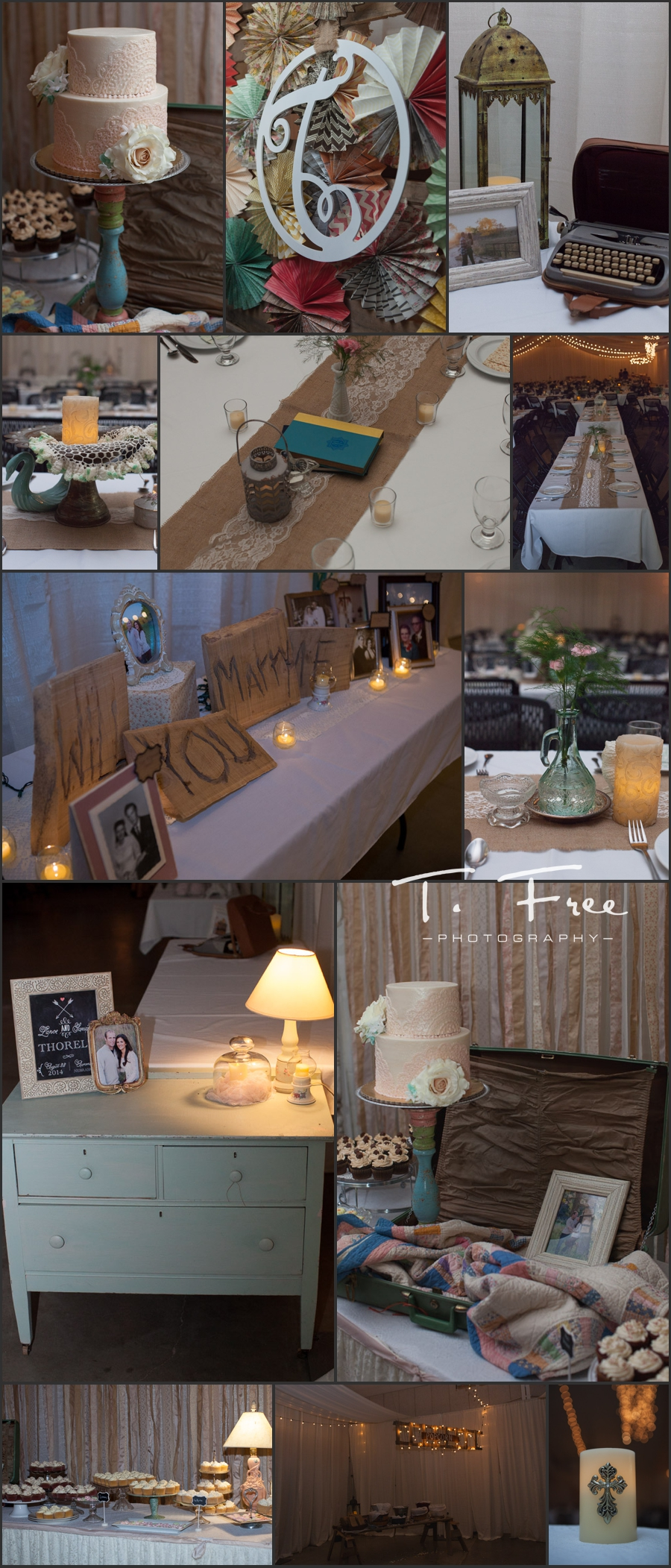 DIY vintage chic wedding reception decor in aurora Nebraska