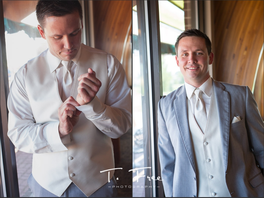 Groom in gray on his wedding day