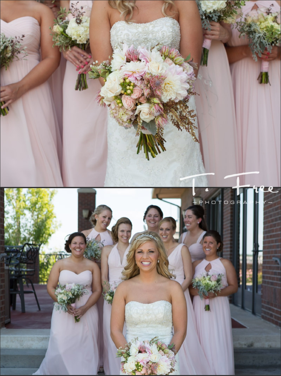 Bridesmaids and bride with bouquet.