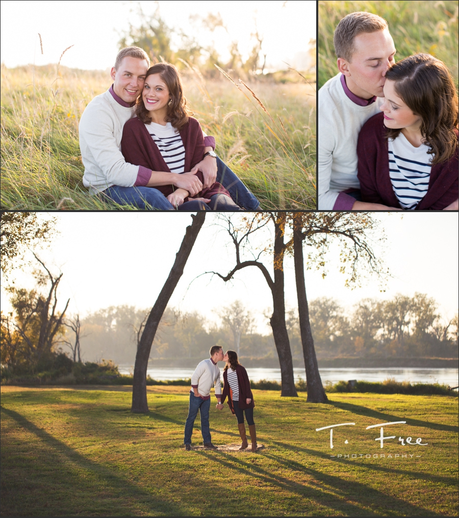 UNMC engagement session in Iowa along the Missouri River.