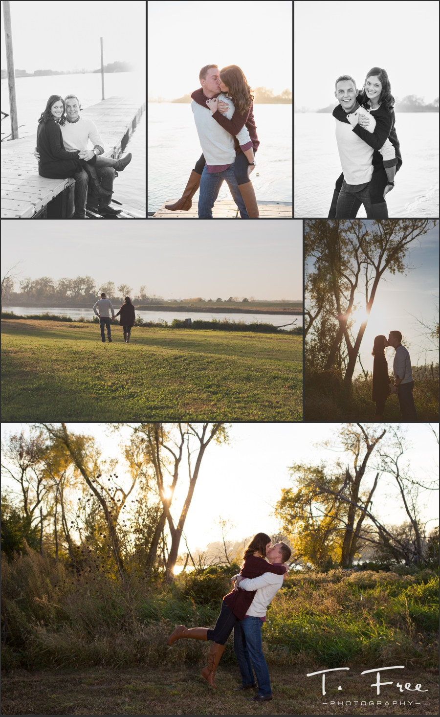Engagement session with medical school couple near Missouri River council bluffs, iowa.