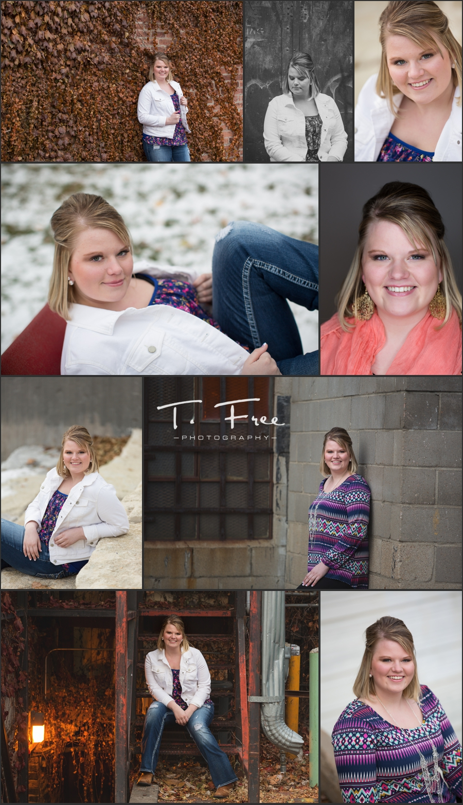 Senior portraits in Omaha late fall with snow.