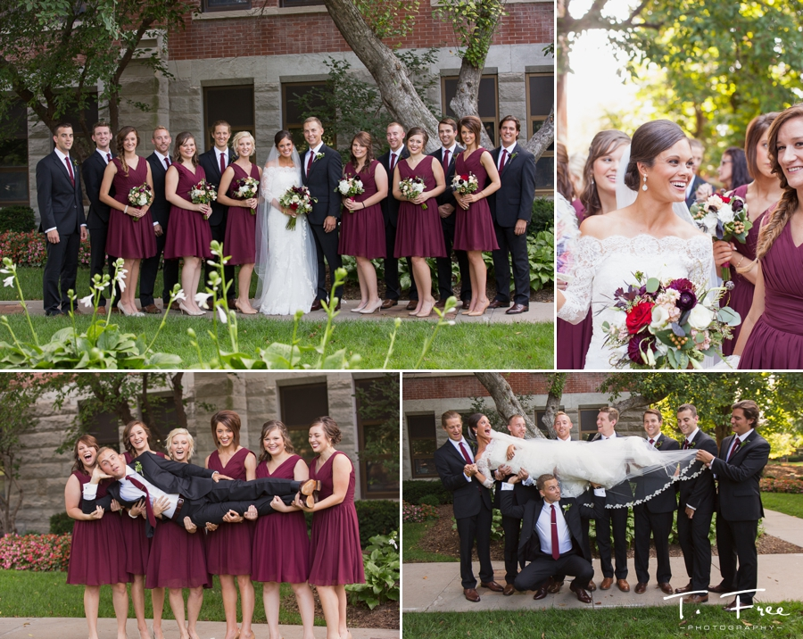 Outdoor wedding images on Creighton campus