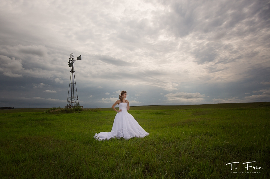 Nebraska country bride with windmill