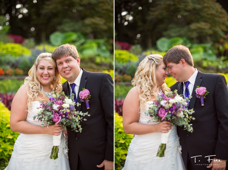 Bride and Groom at Sunken Gardens in Lincoln.