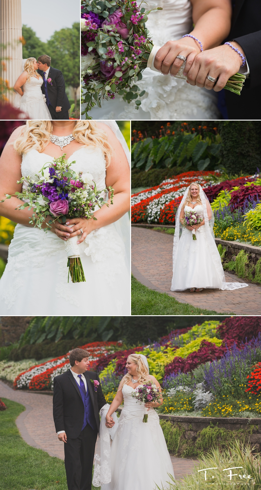Bride at Sunken Gardens in Lincoln Nebraska.
