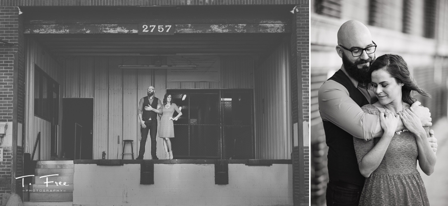 Industrial black and white downtown Omaha engagement session.