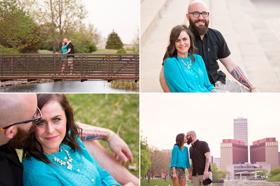 Downtown Omaha engagement session Gene Leahy Mall park.
